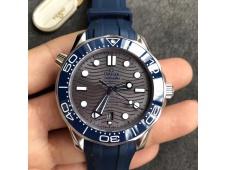 Replica OMEGA 2018 Seamaster Diver 300M VSF 1:1 Best Gray Dial on Blue Rubber A8800 V2 (Black Balance Wheel)