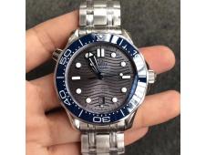 Replica OMEGA 2018 Seamaster Diver 300M VSF 1:1 Best Blue Ceramic Gray Dial on Bracelet A8800 V2 (Black Balance Wheel)