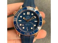 Replica OMEGA 2018 Seamaster Diver 300M Rose Gold Blue Ceramic VSF 1:1 Best Blue Dial Rubber Strap A8801
