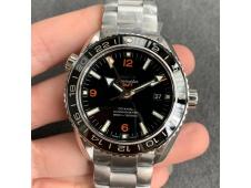 Replica OMEGA Planet Ocean 600M GMT 43.5mm VSF 1:1 Best Black Dial Orange Markers on SS Bracelet A8605  (Free Rubber)