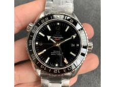 Replica OMEGA Planet Ocean 600M GMT 43.5mm VSF 1:1 Best Black Dial SS Bracelet A8605 Super Clone (Free Rubber)