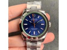Replica ROLEX Milgauss116400 GV NOOB 1:1 Green Sapphire Blue Dial on SS Bracelet A2836