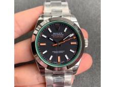 Replica ROLEX Milgauss116400 GV NOOB 1:1 Green Sapphire Black Dial on SS Bracelet A2836