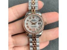 Replica Rolex Datejust 28MM 279383RBR Ladies WF Rose Gold/Steel Diamond Bezel White MOP Dial Swiss ETA2671 Watch