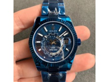 Replica Rolex Skydweller DIW Blue PVD WWF Best Edition Blue Dial on Blue Bracelet A23J