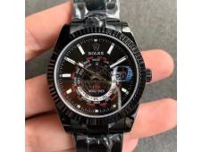 Replica Rolex Skydweller DIW Black PVD WWF Best Edition Black Dial on Black Bracelet A23J