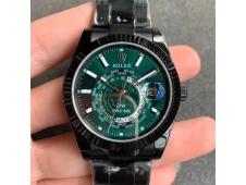Replica Rolex Skydweller DIW PVD WWF Best Edition Green Dial on PVD Bracelet A23J