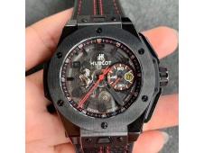 Replica Hublot Big Bang Ferrari Unico Black Ceramic V6F 1:1 Best Skeleton Dial on Black Gummy Strap HUB1288