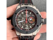 Replica Hublot Big Bang Ferrari Unico Titanium V6F 1:1 Best Edition Skeleton Dial on Black Gummy Strap HUB1288