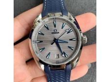 Replica OMEGA Aqua Terra 150M Master Chronometers VSF 1:1 Best Gray Dial Blue Hand on Blue Rubber Strap A8900 Super Clon