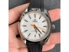 Replica OMEGA Aqua Terra 150M Master Chronometers VSF 1:1 Best White Dial Orange Hand Black Rubber Strap A8900