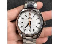 Replica OMEGA Aqua Terra 150M Master Chronometers VSF 1:1 Best White Dial Orange Hand A8900 (2 Straps)