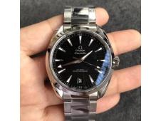 Replica OMEGA Aqua Terra 150M Master Chronometers VSF 1:1 Best Black Dial SS Bracelet A8900 Super Clone (2 Straps)