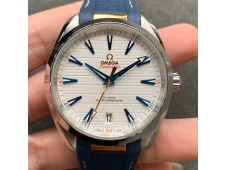 Replica OMEGA Aqua Terra 150M Master Chronometers VSF 1:1 Best White Dial Gold Hand Blue Rubber Strap A8900 Super Clone