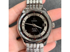 Replica OMEGA De Ville Hour Vision 41mm SS VSF 1:1 Best Black/Silver Dial on SS Bracelet A8500 Super Clone