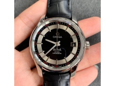 Replica OMEGA De Ville Hour Vision 41mm SS VSF 1:1 Best Black/Silver Dial Black Croco Leather Strap A8500 Super Clone