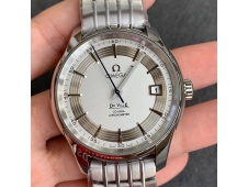 Replica OMEGA De Ville Hour Vision 41mm SS VSF 1:1 Best Silver Dial on SS Bracelet A8500 Super Clone