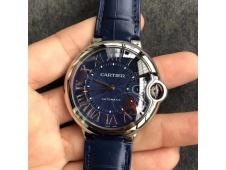 Replica Cartier Ballon Bleu 42mm SS V6F 1:1 Best Edition Blue Textured Dial on Blue Leather Strap A2824