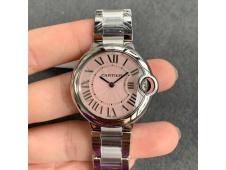 Replica Cartier Ballon Bleu 36mm SS V6F Pink Textured Dial on SS Bracelet Ronda Quartz