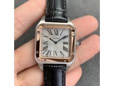Replica Cartier Santos 27.5mm SS/Rose Gold XF 1:1 Best Silver Dial Black Croco Strap Ronda Quartz