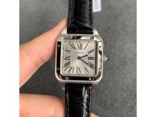 Replica Cartier Santos 27.5mm SS XF 1:1 Best Silver Dial Black Croco Strap Ronda Quartz