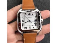 Replica Cartier Santos de Cartier 40mm 2018 V6F 1:1 Best White Dial on Brown Leather Strap MIYOTA 9015