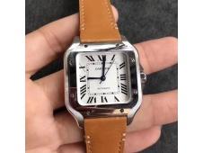 Replica Cartier Santos de Cartier 35mm 2018 V6F 1:1 Best White Dial on Brown Leather Strap MIYOTA 9015