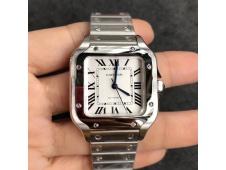 Replica Cartier Santos de Cartier 35mm 2018 GF 1:1 Best White Dial on SS SmartLinks Bracelet MIYOTA 9015 (Free Leather)