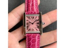 Replica Cartier Tank Louis Ladies SS K11F Pink Dial on Pink Leather Strap Ronda Quartz