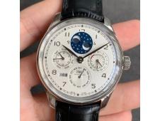 Replica IWC Portugieser Perpetual Calendar IW503406 V9F 1:1 Best Silver Dial on Black Leather Strap A52615