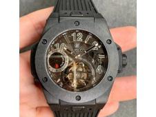 Replica Hublot Big Bang Tourbillon King 45mm PVD MJF 1:1 Best Skeleton Dial on Black Rubber Strap