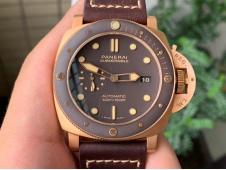 Replica Panerai PAM968 Bronzo VSF 1:1 Best Brown Ceramic Bezel and Dial on Calfskin Strap P9010 Clone