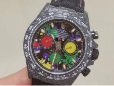Replica ROLEX Daytona DIW Carbon OMF Best Colorful Dial on Black NYLON Strap A4130