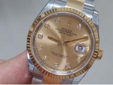 Replica Rolex DateJust 36mm SS/Yellow Gold 126233 EWF 1:1 Best Gold Dial A3235