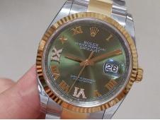 Replica Rolex DateJust 36mm SS/Yellow Gold 126233 EWF 1:1 Best Green Dial A3235