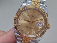 Replica Rolex DateJust 36mm SS/Yellow Gold 126233 EWF 1:1 Best Gold Diamond Dial A3235