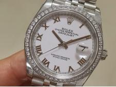 Replica Rolex DateJust 36mm 126234 EWF 1:1 Best Diamond Bezel White Roman Dial A3235