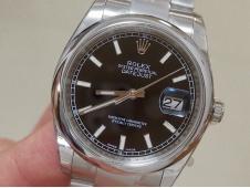 Replica Rolex DateJust 36mm 126234 EWF 1:1 Best Smooth Bezel Black Dial A3235