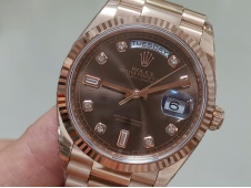Replica Rolex DayDate 36mm Rose Gold 128235 EWF Best Brown Diamond Dial on President Bracelet A3255