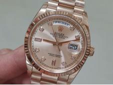 Replica Rolex DayDate 36 Rose Gold 128235 EWF Best RG Diamond Dial on President Bracelet A3255