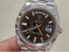 Replica Rolex DayDate 40mm 228239 EWF Best Edition Black Diamond Dial on SS President Bracelet A3255