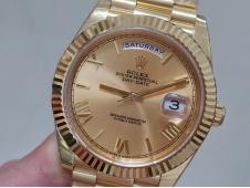 Replica Rolex DayDate 40mm 228238 Yellow Gold EWF GOLD Roman Dial on YG President Bracelet A3255