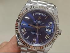 Replica Rolex DayDate 40mm 228239 EWF Best Blue Roman Dial on SS President Bracelet A3255