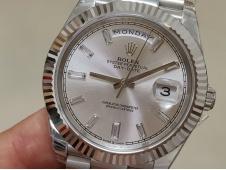 Replica Rolex DayDate 40mm 228239 EWF Best Silver Diamond Dial on SS President Bracelet A3255