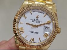 Replica Rolex DayDate 40mm 228238 Yellow Gold EWF White Roman Dial on YG President Bracelet A3255