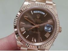 Replica Rolex DayDate 40mm Rose Gold 228235 EWF Best Brown Roman Dial on SS President Bracelet A3255