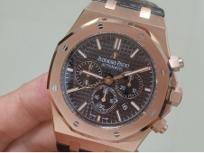 Replica Audemars Piguet AP Royal Oak Chrono 26331ST Rose Gold OMF 1:1 Best Black Dial on Leather Strap A7750