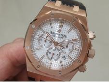Replica Audemars Piguet AP Royal Oak Chrono 26331ST Rose Gold OMF 1:1 Best Silver Dial on Leather Strap A7750