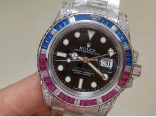 Replica ROLEX GMT Master II Blue Red Diamond Bezel 904L Black Dial VRF Best VR3186 CHS