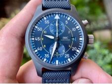 Replica IWC Pilot Chrono Blue Angels Black Ceramic ZF 1:1 Best on Leather A7750